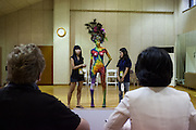 A model in front of the jury at the International Bodypainting Festival in Daegu. At the International Body Painting Festival in Daegu artists from all over the world have the opportunity to show their own specialties in body painting. The festival is one of the largest events in the field of body painting and is visited by a large amount of visitors every year.