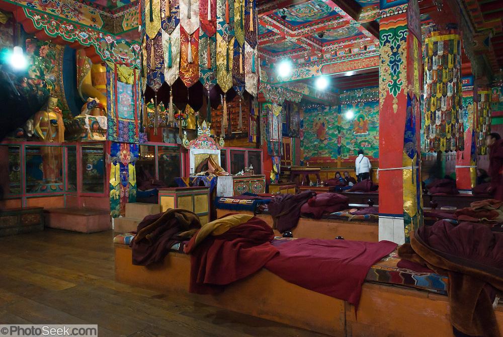 Sagarmatha National Park, Nepal: Tengboche Monastery (12,690 feet elevation) was first built in 1918 by Tibetan Buddhists, then rebuilt in 1934 and 1993 after earthquake & fire. 1993 wall paintings by the famous Tibetan painter Tarke-la adorn the shrine room of the rebuilt Tengboche Monastery, depicting the Bodhisattva lives of the Buddha. Sagarmatha National Park (created 1976) was honored as a UNESCO World Heritage Site in 1979.