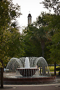 Fountain and park in the old section of Myrtle Beach, SC.