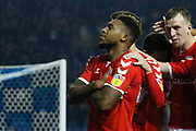 Goal celebration  by Middlesbrough forward Britt Assombalonga (9)  during the EFL Sky Bet Championship match between Sheffield Wednesday and Middlesbrough at Hillsborough, Sheffield, England on 19 October 2018.