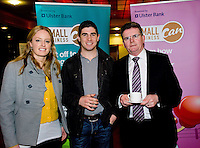 At the Ulster Bank Business Live event in the clayton Hotel Galway were, from right to left, Lisa Creaven, Woodquay Dental and Padraic O Griallais , Inverin and Brendan McDermott Regional Director Midlands and West Ulster Bank . Galway business professionals and entrepreneurs attend an event focused on international and cross-border trading – providing knowledge and guidance on new opportunities for businesses that are looking to expand their current reach for their products or services. The event, which took place on 6th February, was part of Ulster Bank's 'Business Live' series, running in association with Smallbusinesscan.com. The Ulster Bank Business Live events will run until March 5th 2012, appearing in key towns and cities in the Republic of Ireland and Northern Ireland. Further information about the Business Live events is available from Ulster Bank branches or at www.smallbusinesscan.com. Photo:Andrew Downes photography.