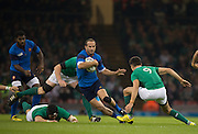 Cardiff, Wales, Great Britain, France full back, Scott SPEDDING, swerving through the Irish defence, during the Pool D game, France vs Ireland.  2015 Rugby World Cup,  Venue, Millennium Stadium, Cardiff. Wales   Sunday  11/10/2015.   [Mandatory Credit; Peter Spurrier/Intersport-images]