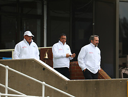 Umpires walk out for inspection during day four of the first test match between South Africa and New Zealand held at the Kingsmead stadium in Durban, KwaZulu Natal, South Africa on the 22nd August 2016<br /> <br /> Photo by:   Anesh Debiky / Real Time Images