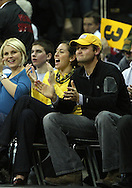 21 JANUARY 2009: Former Iowa football kicker and current San Diego Chargers kicker Nate Kaeding watches the first half of an NCAA college basketball game Wednesday, Jan. 21, 2009, at Carver-Hawkeye Arena in Iowa City, Iowa. Iowa defeated Wisconsin 73-69 in overtime.