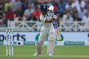 Ajinkya Rahane of India cover drives during the 3rd International Test Match 2018 match between England and India at Trent Bridge, West Bridgford, United Kingdon on 18 August 2018.