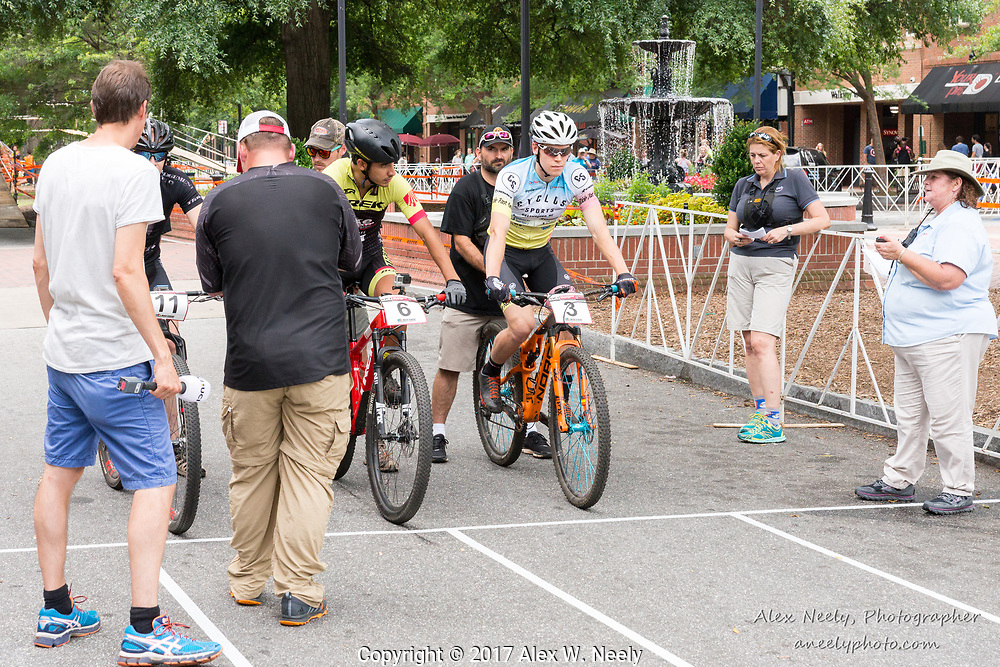 Seth Kemp (#3 USA), Daniel Castillo Noyola (#6 MEX) and Jarno Trey (#11 EST) line up for 4th heat of the quarter finals during  Round 2 of the 2017 UCI MTB Eliminator World Cup held in Columbus, GA, USA on June 4, 2017.