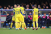 Oxford United striker Robbie Hall (19) celebrating with team mates after scoring 0-1 during the EFL Sky Bet League 1 match between AFC Wimbledon and Oxford United at the Cherry Red Records Stadium, Kingston, England on 14 January 2017. Photo by Matthew Redman.