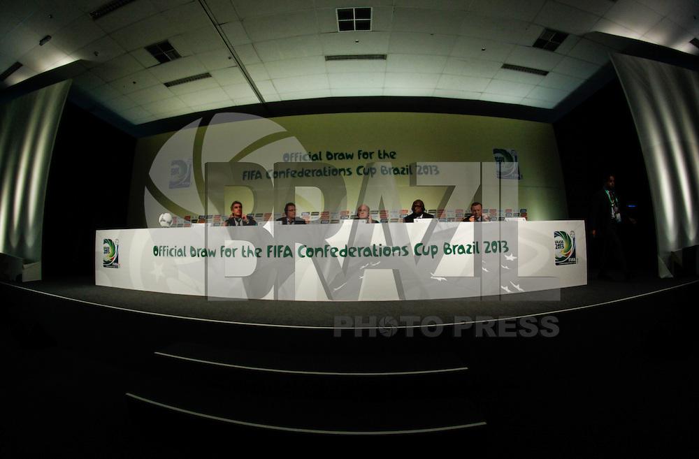 SAO PAULO, SP, 30 DE NOVEMBRO 2012 - COLETIVA FIFA - Joseph Blatter presidente da FIFA <br /> Jacques Anouma membro executivo do comite FIFA <br /> Jose Maria Marin presidente da CBF/COL durane coletiva com imprensa sexta-feira no Parque Anhembi regiao norte da capital paulista. FOTO: VANESSA CARVALHO - BRAZIL PHOTO PRESS.