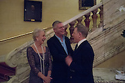 HELEN MIRREN; STEPHEN DALDRY; EDWARD FOX, The Audience Press night, Gielgud Theatre and after-party at the Horseguard Hotel. London. 5 March 2013