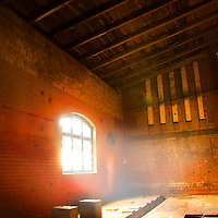 Room interior in Soviet hospital with sunlight and window