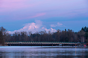 Mount Baker, in Washington state, at sunset from the lower Frasier River in Fort Langley, British Columbia.