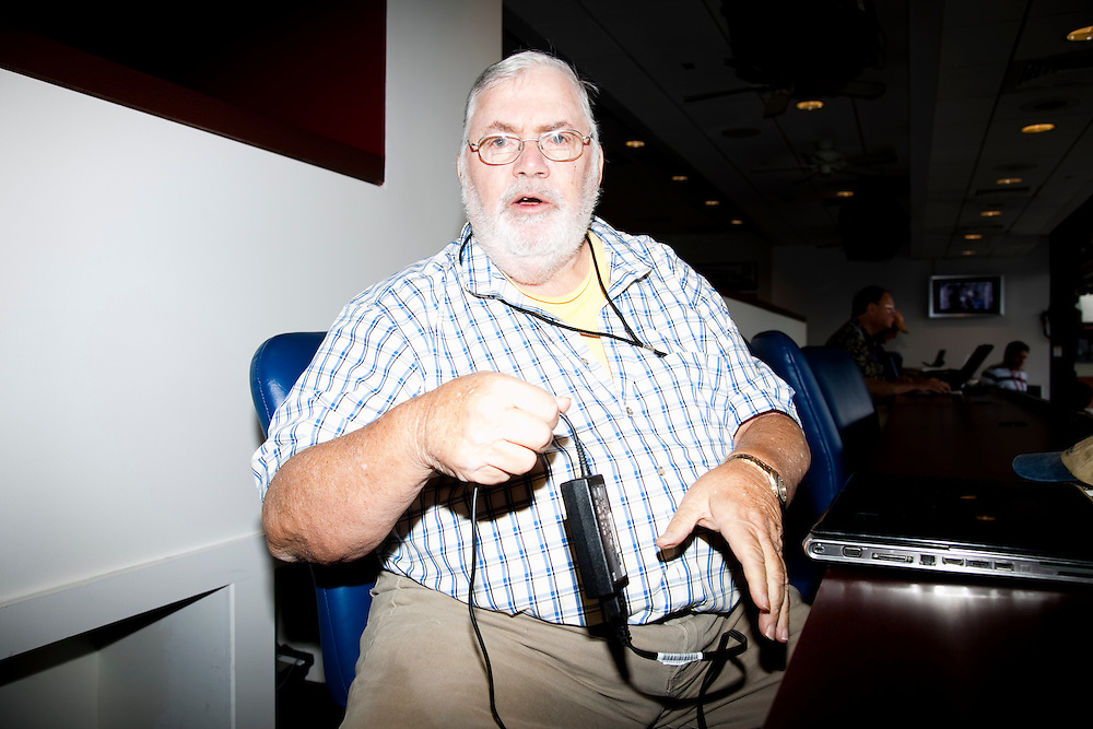 Philadelphia Daily News sports columnist Bill Conlin was pictured in the press booth of Citizens Bank Park in 2009.