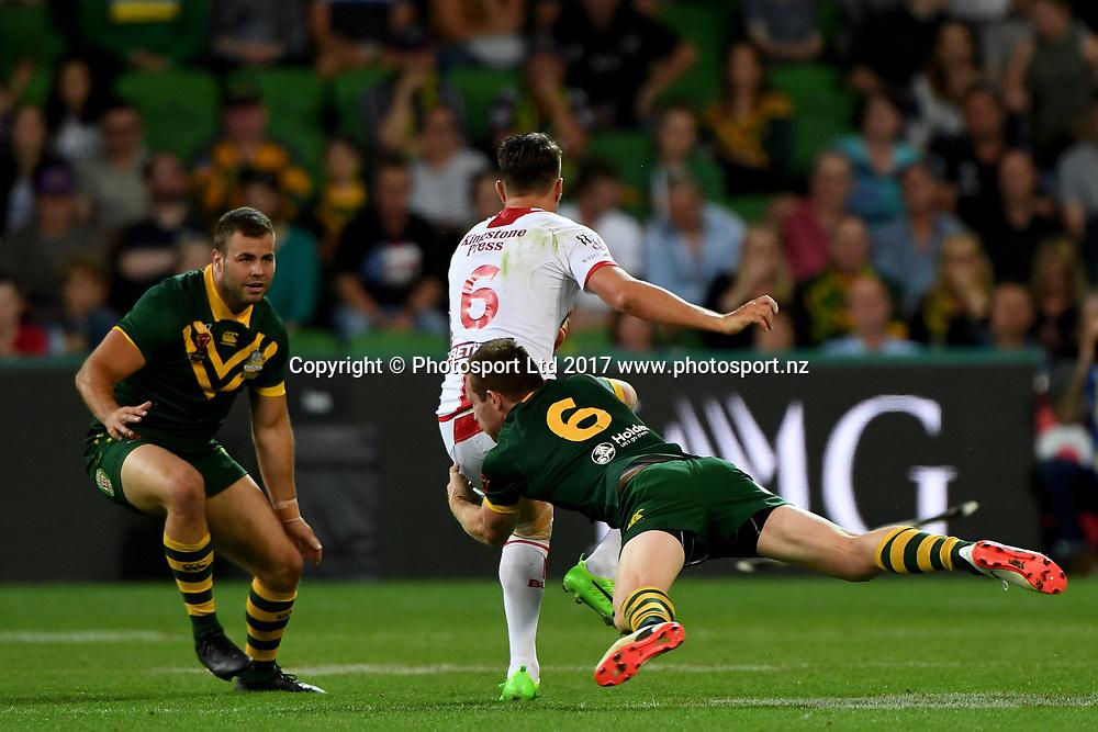 Gareth Widdop.<br /> RLWC 2017. Australia Kangaroos v England. Rugby League World Cup. Melbourne Rectangular Stadium, Melbourne Australia. Friday 27 October 2017. &copy; www.photosport.nz
