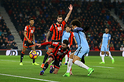 Adam Smith of Bournemouth kicks the ball out - Mandatory by-line: Jason Brown/JMP - 13/02/2017 - FOOTBALL - Vitality Stadium - Bournemouth, England - Bournemouth v Manchester City - Premier League