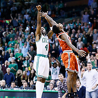 21 December 2012: Boston Celtics shooting guard Jason Terry (4) takes a three point jumpshot over Milwaukee Bucks point guard Brandon Jennings (3) during the Milwaukee Bucks 99-94 overtime victory over the Boston Celtics at the TD Garden, Boston, Massachusetts, USA.