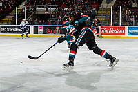 KELOWNA, CANADA - OCTOBER 5:  Devin Steffler #4 of the Kelowna Rockets takes a slap shot against the Victoria Royals on October 5, 2018 at Prospera Place in Kelowna, British Columbia, Canada.  (Photo by Marissa Baecker/Shoot the Breeze)  *** Local Caption ***