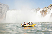 Family kayaking below the impressive Shoshone Falls on the Snake River in Twin Falls, Idaho. MR