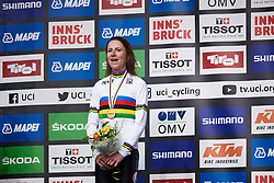 Annemiek van Vleuten (NED) sings along with the national anthem at UCI Road World Championships 2018 - Elite Women's ITT, a 27.7 km individual time trial in Innsbruck, Austria on September 25, 2018. Photo by Sean Robinson/velofocus.com