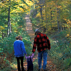 A young family enjoys fall on an old logging road on the northern slopes of Rice Hill in Vermont's Green Mountains.  Wardsboro, VT