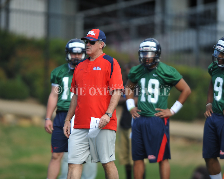 Offensive coordinator Dan Werner at spring practice in Oxford, Miss. on Friday, March 23, 2012. (AP Photo/Oxford Eagle, Bruce Newman)