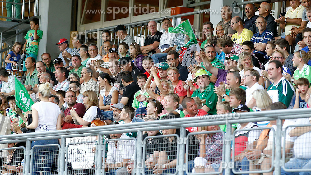 07.08.2012, Lavanttal Arena, Wolfsberg, AUT, Testspiel, RZ Pellets WAC vs VfL Wolfsburg, im Bild die Fans aus Wolfsburg // during Friendly Match between RZ Pellets WAC and VfL Wolfsburg at the Lavanttal Arena, Wolfsberg, Austria on 2012/08/07. EXPA Pictures © 2012, PhotoCredit: EXPA/ Oskar Hoeher.