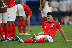 July 14, 2018 - Saint Petersburg, Russia - Harry Maguire of the England national football team reacts after the 2018 FIFA World Cup Russia 3rd Place Playoff match between Belgium and England at Saint Petersburg Stadium on July 14, 2018 in St. Petersburg, Russia. (Credit Image: © Igor Russak/NurPhoto via ZUMA Press)