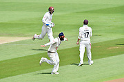Wicket - Amar Virdi of Surrey celebrates taking the wicket of Sean Ervine of Hampshire during the Specsavers County Champ Div 1 match between Hampshire County Cricket Club and Surrey County Cricket Club at the Ageas Bowl, Southampton, United Kingdom on 11 June 2018. Picture by Graham Hunt.