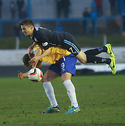 Dundee's Nicky Riley lands on top of Cowdenbeath's Greg Stewart - Cowdenbeath v Dundee, SPFL Championship at Central Park<br /> <br />  - &copy; David Young - www.davidyoungphoto.co.uk - email: davidyoungphoto@gmail.com