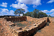 Blue sky and clouds over surface pueblo ruins at Mule Canyon (Anasazi), Cedar Mesa, Utah