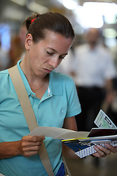 Rider Sigrid Teresa Corneo of Slovenian Olympic Team at departure to Beijing 2008 Olympic games, on July 31, 2008, at Airport Jozeta Pucnika, Brnik, Slovenia. (Photo by Vid Ponikvar / Sportal Images)/ Sportida)