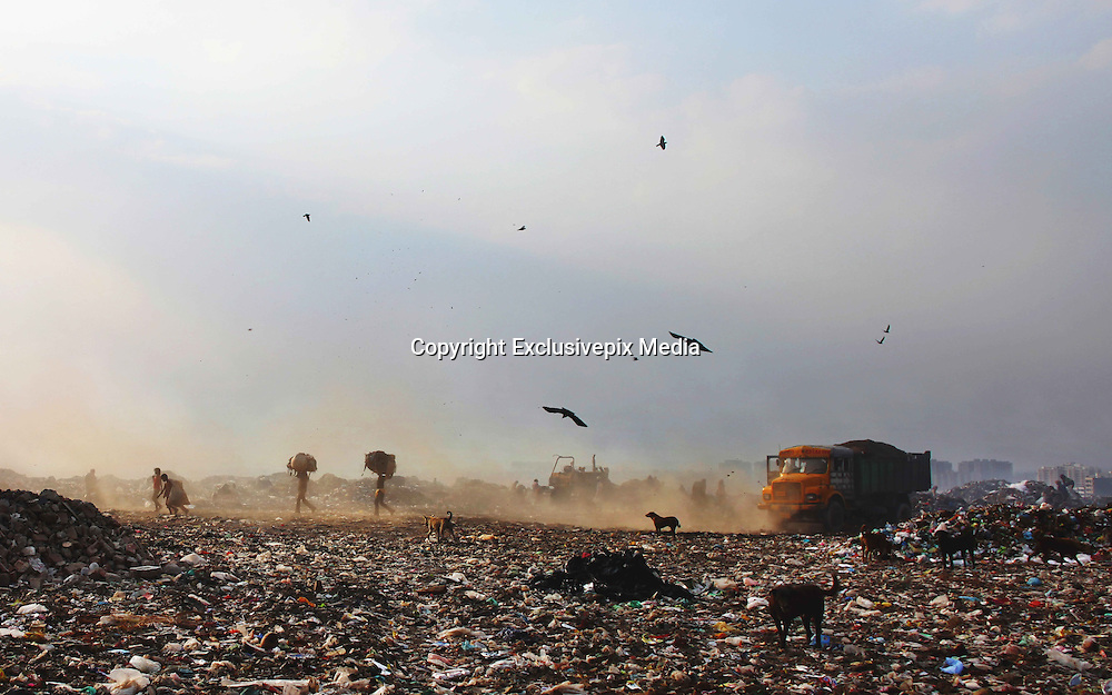 New Delhi, India - <br /> <br /> Garbage Mountain<br /> <br /> Just a few miles from the famous Akshardham temple, where tourists flock to see the structure's sandstone and marble work, the 29-hectare, slum-surrounded Ghazipur landfill in east Delhi seems a world apart. Each day hundreds of mainly migrant workers earn a meager living at the landfill by collecting recyclable material like plastic, metal and even hair to sell. The dump is the last port of call for Delhi's trash, having already been picked through by other waste collectors who collect bags of garbage directly from homes. Delhi is home to three landfills where around 6,000 tons of trash is dumped daily. Studies have shown that living near a landfill increases the risk of cancer, birth defects and asthma.<br /> <br /> Photo shows: Ghazipur landfill has more than 46 lakh metric tons of garbage. Around 2,200 metric tons of waste is dumped here daily without any prior segregation.<br /> &copy;Chinky Shukla/Exclusivepix Media