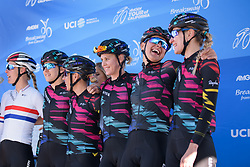 Barbara Guarischi laughs with her teammates at Amgen Breakaway from Heart Disease Women's Race empowered with SRAM (Tour of California) - Stage 1. A 117km road race around Lake Tahoe, USA on 11th May 2017.