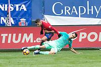Club Atletico Osasuna's Sergio LEon, FC Barcelona's Sergio Busquets during the match of La Liga between Club Atletico Osasuna and Futbol Club Barcelona at Sadar Stadium in Pamplnoa , Spain. December 10, 2016. (ALTERPHOTOS/Rodrigo Jimenez)