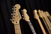 Neerland, Groesbeek, 18-2-2018Op de gitaarbeurs staat een rijtje Fender gitaren . Foto: Flip Franssen