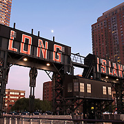 One of the industrial Gantries at Gantry Plaza State Park in Long Island CIty in the borough of Queens, NYC