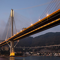 China, Hong Kong, Ting Kau Bridge, a 1,177-meter (3,862 ft) long cable-stayed bridge spanning from the northwest of Tsing Yi Island and Tuen Mun Road across Rambler Channel to Lantau Island
