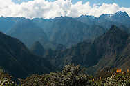The view of Machu Picchu mountain from the ruins of Llactapata, Peru.