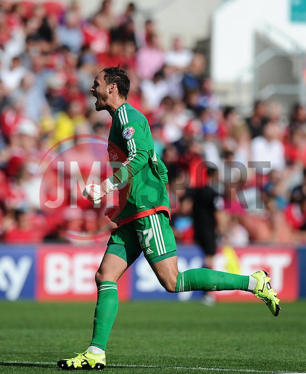 David Button of Brentford celebrates  - Mandatory byline: Joe Meredith/JMP - 07966386802 - 15/08/2015 - FOOTBALL - Ashton Gate -Bristol,England - Bristol City v Brentford - Sky Bet Championship