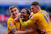 Preston North End Forward Dan Johnson (11) celebrates the winning goal during the Sky Bet Championship match between Reading and Preston North End at the Madejski Stadium, Reading, England on 30 April 2016. Photo by Jon Bromley.