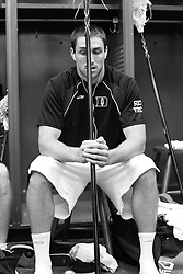 28 May 2007: Duke Blue Devils defenseman Ryan McFadyen (41) pregame in the locker room before playing Johns Hopkins in the NCAA Championship at M&T Stadium in Baltimore, MD.