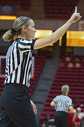 03 January 2014:  Referee Lisa Mattingly issues first whistle to end a timeout during an NCAA women's basketball game between the Drake Bulldogs and the Illinois Sate Redbirds at Redbird Arena in Normal IL