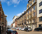 Large nineteenth century buildings being convert to apartments and offices, Butetown, , Cardiff Bay, South Wales, UK
