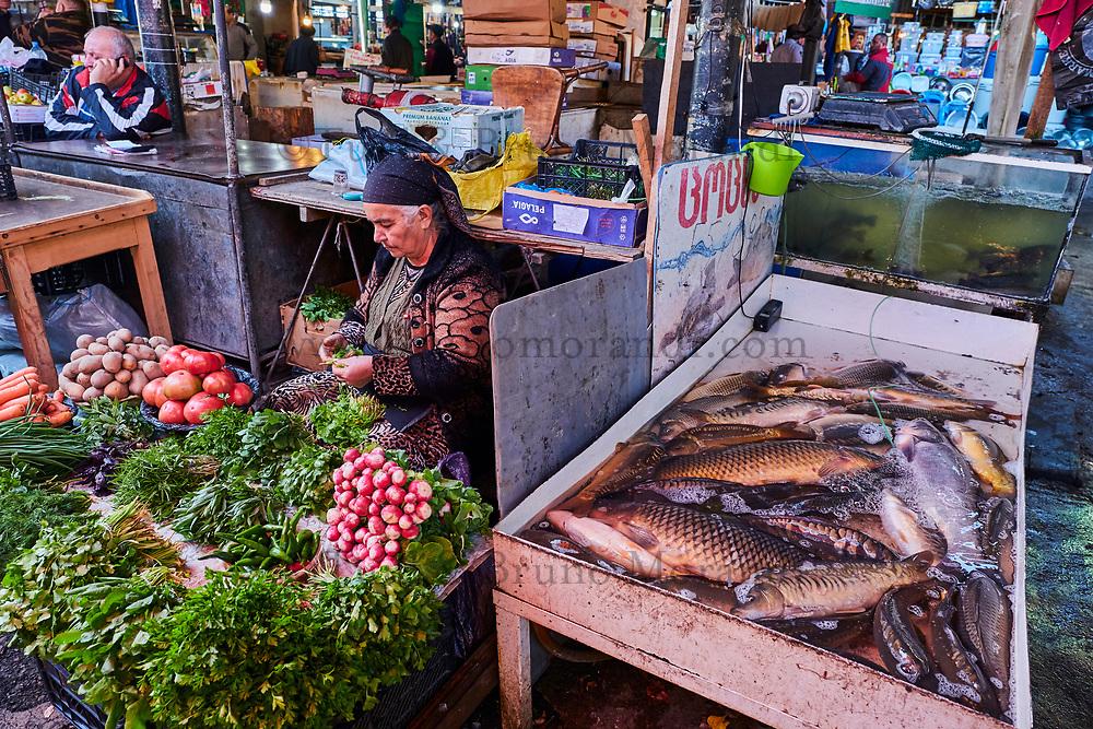 Georgie, Caucase, région de Kakheti, Telavi, Le bazar, marché couvert de la ville // Georgia, Caucasus, Kakheti region, Telavi, the bazar, the local market