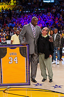 02 April 2013: Shaquille O'Neal speaks to Jack Nicholson while standing with his framed jersey during the jersey retirement ceremony for retired Los Angeles Lakers center (34) Shaquille O'Neal during halftime of  the Lakers 101-81 victory over the Dallas Mavericks at the STAPLES Center in Los Angeles, CA.