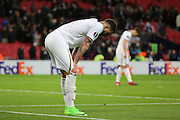 Tottenham Hostpur defender Kyle Walker (2) with hands on knees during the Europa League match between Tottenham Hotspur and KAA Gent at Wembley Stadium, London, England on 23 February 2017. Photo by Matthew Redman.