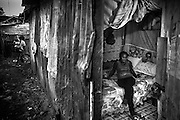 Priscilla, aged 26, in her rented room in Mugumoini Village slum. Raped  by 2 men on her way home one night after a party with friends she was left abandoned on the roadside, drunk and naked. A woman from the Kenya Wildlife Service found her the next day and took her home. She has continuous health problems as a result forcing her to make regular visits to the local community health centre. She has been an inspiration to other raped women in the community and continues to come forward.<br />