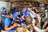 Arrivee du groupe France a l'aeroport - 02.02.2015 - Equipe de France de Handball - Retour Championnats du Monde 2015 - Aeroport Roissy CDG -Paris<br /> Photo : Cohen / Visual / Icon Sport