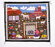 "0108-1021B ~ Copyright: George H. H. Huey ~ Navajo Indian rug. Pictorial style. 36"" x 42"". Hubbell Trading Post National Historic Site, Arizona."