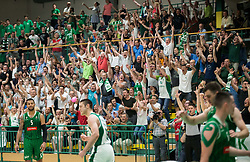 Supporters of Krka celebrate during basketball match between KK Krka Novo mesto and  KK Petrol Olimpija in 4th Final game of Liga Nova KBM za prvaka 2017/18, on May 27, 2018 in Sports hall Leona Stuklja, Novo mesto, Slovenia. Photo by Vid Ponikvar / Sportida