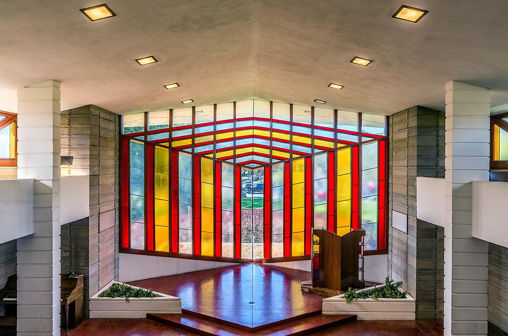 Danforth Chapel interior designed by Frank Loyd Wright, Florida, Florida Southern College, Lakeland, USA